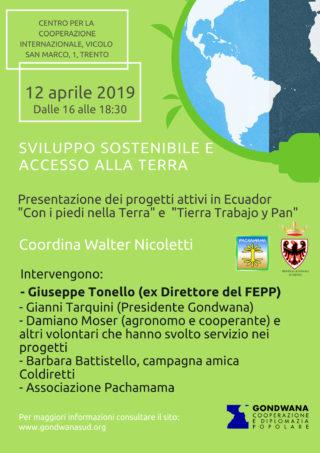 Prossimi eventi: Sviluppo sostenibile e accesso alla Terra – 12 aprile