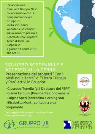 Prossimi eventi: Sviluppo sostenibile e accesso alla Terra – 11 aprile